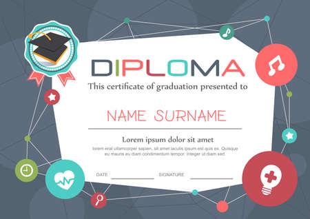 graduacion caricatura: Preescolar Kids Diploma certificado de antecedentes plantilla de diseño