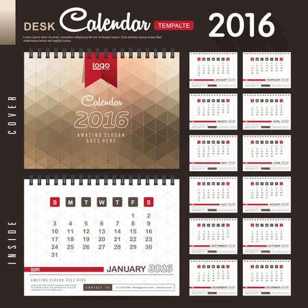 calendrier: Calendrier de bureau 2,016 Vector Design Mod�le avec motif abstrait. Ensemble de 12 mois. illustration vectorielle