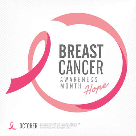 senos: Conciencia del cáncer de pecho, cinta del rosa de fondo, ilustración vectorial