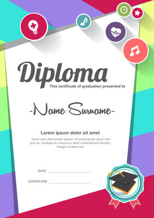 boy and girl: Preschool Kids Diploma certificate background design template