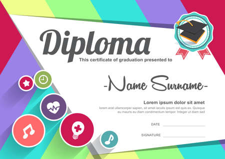 cute kids: Preschool Kids Diploma certificate background design template