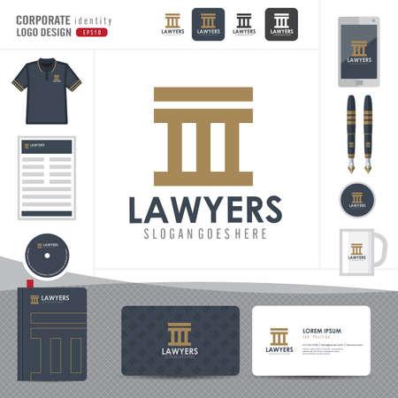 ley: Logotipo de la Ley, bufete de abogados, asesoría jurídica, Logotipo Ley Modelo de la identidad corporativa, identidad corporativa, vector ilustrador Vectores