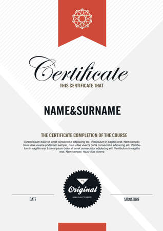 certificate  calligraphy: certificate template with clean and modern pattern,Vector illustration