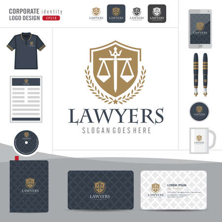 stationary: Law logo,law firm,law office,law Logotype corporate identity template,Corporate identity,vector illustrator