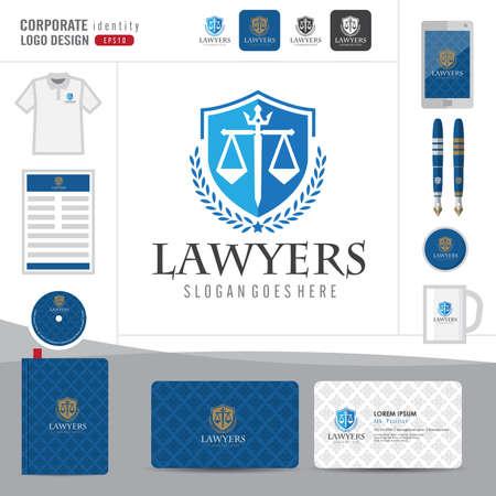 membrete: Logotipo de la Ley, bufete de abogados, asesoría jurídica, Logotipo Ley Modelo de la identidad corporativa, identidad corporativa, vector ilustrador Vectores