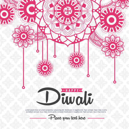 Beautiful greeting card design decorated of Diwali festival with floral pattern. Vector illustration. Illustration