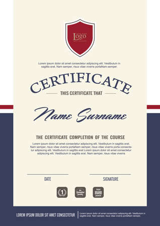 achievement: certificate template with clean and modern pattern,Vector illustration