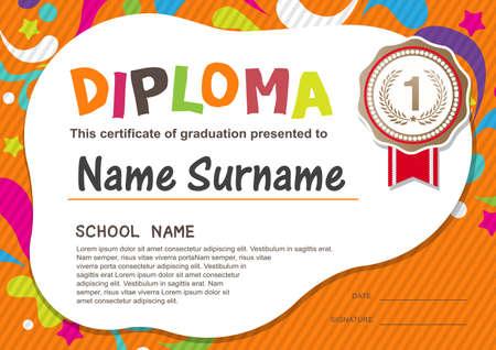 toga graduacion: Preescolar Kids Diploma certificado de antecedentes plantilla de diseño