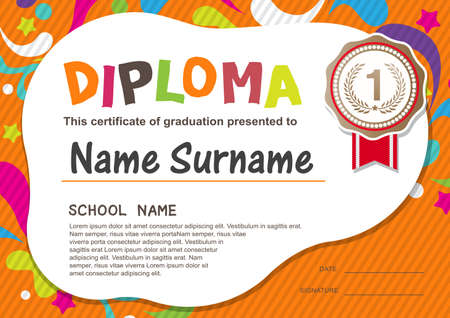Preschool Kids Diploma certificate background design template Stok Fotoğraf - 48132284