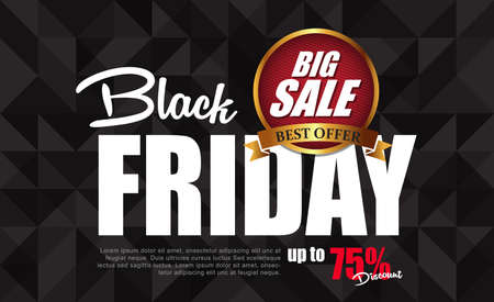 red black: Black Friday sale inscription design template. Black Friday banner. Vector illustration