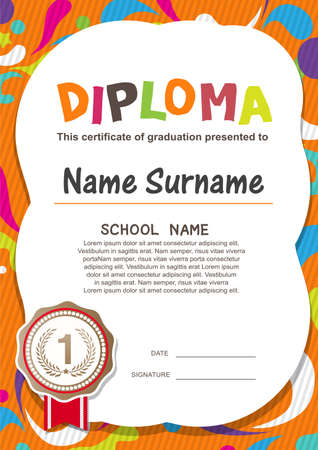 kid vector: Preescolar Kids Diploma certificado de antecedentes plantilla de diseño