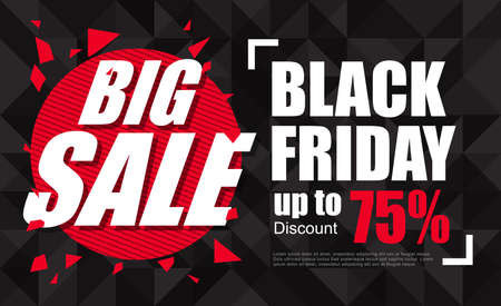 black and red: Black Friday sale inscription design template. Black Friday banner. Vector illustration