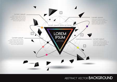 カラフルなネットワークと幾何学的図形と 3 D の抽象的な背景。ビジネス プレゼンテーション、チラシ、ポスターのベクトル デザイン レイアウト。