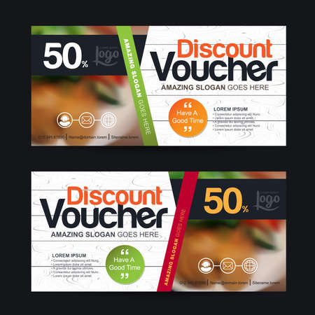 discount voucher template with clean and modern pattern and You can put pictures related businesses.Vector illustration  イラスト・ベクター素材