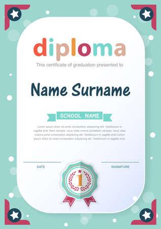 preescolar: Preescolar Kids Diploma certificado de antecedentes plantilla de diseño