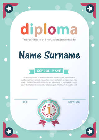 honour: Preschool Kids Diploma certificate background design template