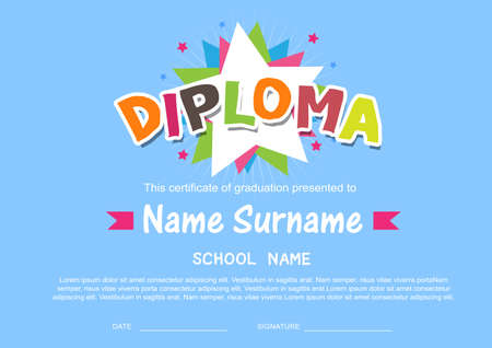 diploma: Preescolar Kids Diploma certificado de antecedentes plantilla de dise�o