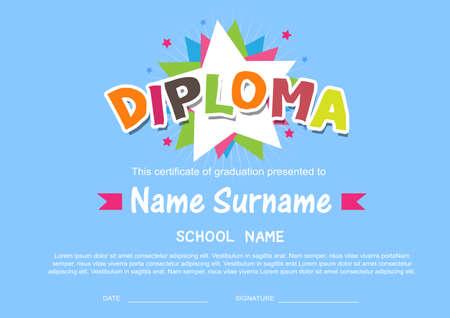 graduation gown: Preschool Kids Diploma certificate background design template