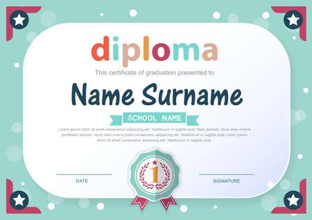 marcos decorativos: Preescolar Kids Diploma certificado de antecedentes plantilla de diseño