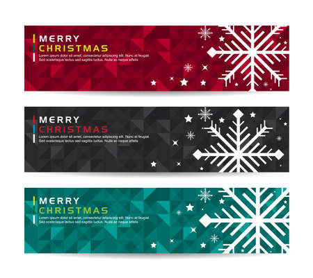 winter holidays: A set of Merry christmas happy new year fancy winter snowflake shape banners