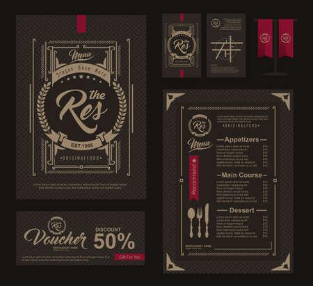 Gran conjunto de restaurante y menú de café de diseño, vales, tarjetas de visita, tabla de banderines, Restaurante menú de cafetería, diseño de la plantilla, volante de Alimentos Foto de archivo - 51001535