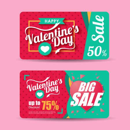 Valentines vente jour modèle de conception d'inscription. Saint Valentin bannière. Vector illustration Banque d'images - 51001538