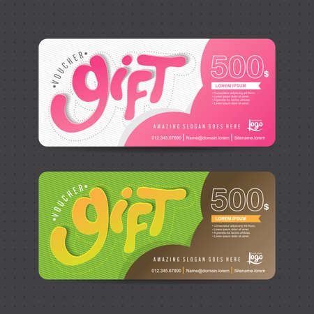 monetary: Gift voucher template with colorful pattern,Vector illustration