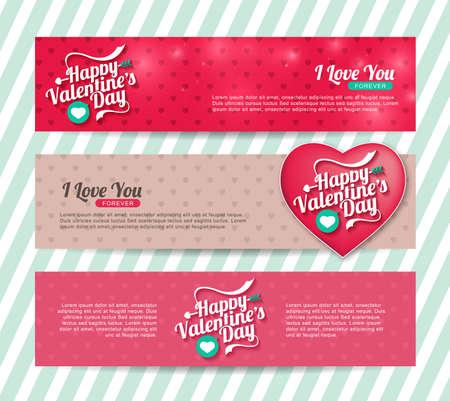 parejas de amor: Un conjunto de banderas del d�a de San Valent�n feliz