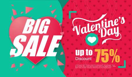 Valentines day sale inscription design template. Valentines day banner. Vector illustration Stock Illustratie
