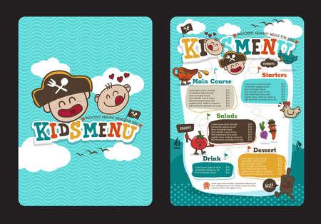 海賊漫画でかわいいカラフルな子供たちの食事メニュー テンプレート