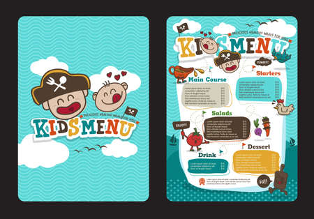 Cute colorful kids meal menu  template with pirate cartoon