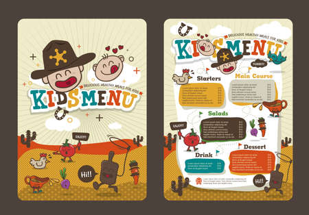 Cute colorful kids meal menu template with cowboy cartoon
