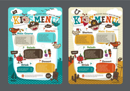Cute colorful kids meal menu template with pirate cartoon and cowboy cartoon