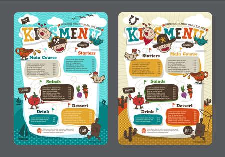 Cute colorful kids meal menu template with pirate cartoon and cowboy cartoon