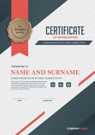 scroll paper: certificate template with clean and modern pattern,Vector illustration