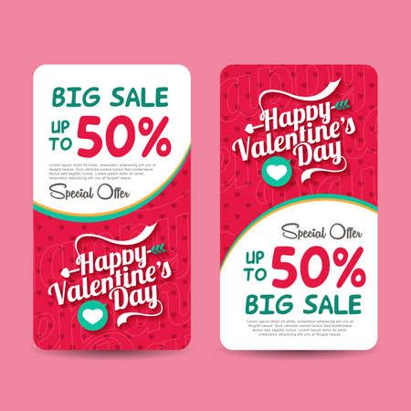 valentine's day banner: Valentines day sale design template . Valentines day banner. Vector illustration