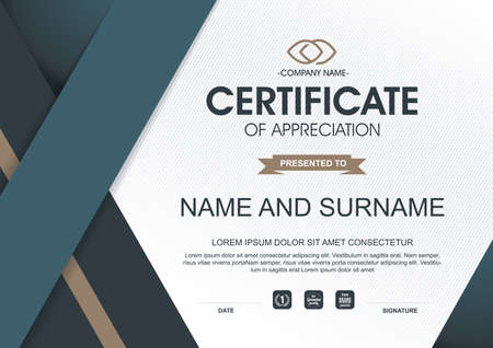 premios: plantilla de certificado con el patrón limpio y moderno, ilustración vectorial