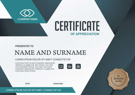 certificate template with clean and modern pattern,Vector illustration Imagens - 51624894