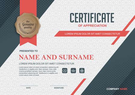 szablon certyfikatu z czystym i nowoczesnym wzór, ilustracji wektorowych