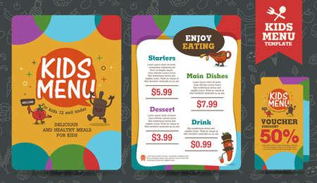 niños desayunando: Lindo niños coloridos menú comida tarjeta vector