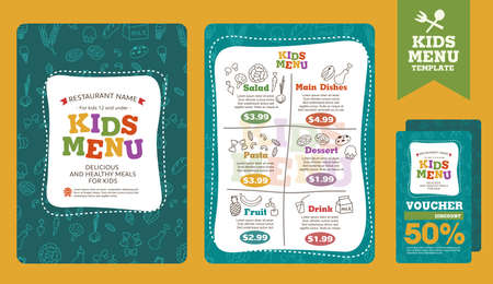 food menu: Cute colorful kids meal menu vector template