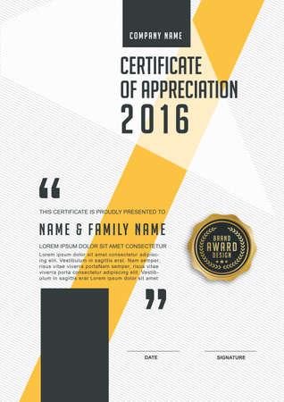 Plantilla de certificado con el modelo limpio y moderno, de oro de lujo, Certificado de calificación plantilla en blanco con un elegante, ilustración vectorial Foto de archivo - 52888949