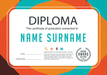 cartoon graduation: Preschool Kids Diploma certificate background design template