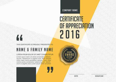 sello: plantilla de certificado con el modelo limpio y moderno, de oro de lujo, Certificado de calificación plantilla en blanco con un elegante, ilustración vectorial Vectores