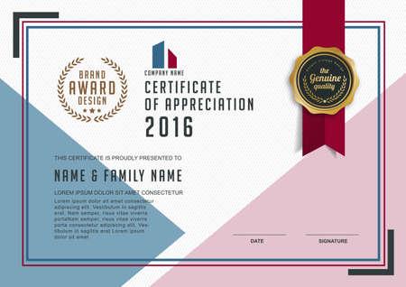 certificado: plantilla de certificado con el modelo limpio y moderno, de oro de lujo, Certificado de calificación plantilla en blanco con un elegante, ilustración vectorial Vectores