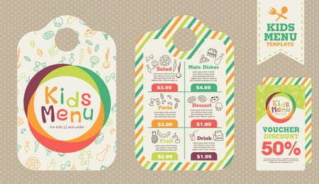 귀여운 다채로운 어린이 식사 메뉴 벡터 템플릿 일러스트