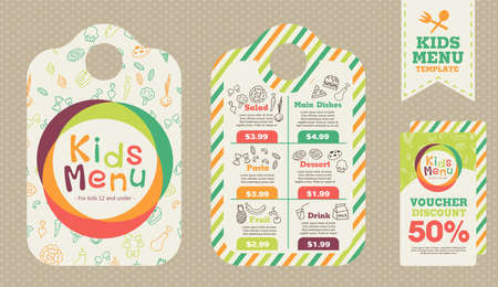 Cute colorful kids meal menu vector template