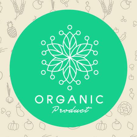 Vecteur organique et naturel emblème et le logo modèle de conception, des modèles de conception de logo et des badges de ligne mono pour l'emballage, illustration vectorielle
