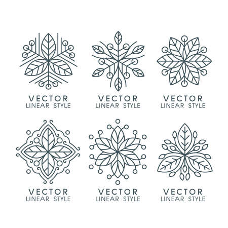 Vector set of linear design elements with leaves , logo design templates and mono line badges for packaging ,vector illustration
