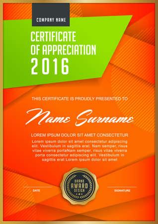 modèle de certificat avec motif propre et moderne, xA; or de luxe, certificat de qualification modèle vierge avec élégant, Vector illustration